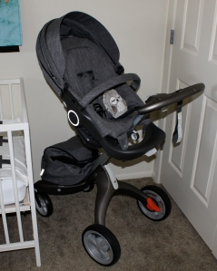 STOKKE. Okay I just had to start out with that.  The BEST brand out there seriously.  They take so much time and put in so much effort to make sure you're getting the best products for your baby.  This is the Stokke Xplory stroller.  If you've never heard of this brand I beg of you to look them up and watch the videos about what makes their products so unique.  They really focus on that constant connection from baby to parent that is essential in baby's emotional health.  By far the best gift I could have ever imagined.  THANKS MOM AND DAD DAVIS! My in laws were so generous in getting this for us knowing how important it was for me. The owl sitting inside of it was a gift from  a sweet friend at church that vibrates to soothe baby!