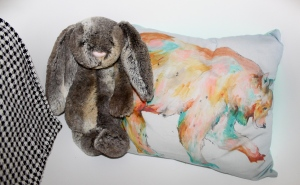 Close up of the woodland bunny and Lady noel bear pillow!